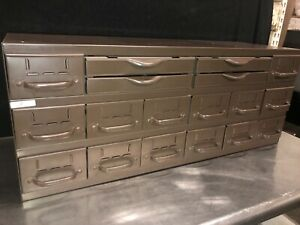 Vtg Equipto 18 Drawer Industrial Metal Small Parts Cabinet 34 w X11 d X 13 3 4 h