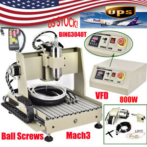 4 Axis 800w 3040t Cnc Router 3d Engraver Engraving Drilling Milling Machine W rc