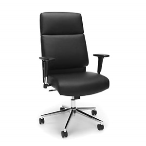 Bonded Leather Manager Chair High Back Office Chair For Computer Desk Black