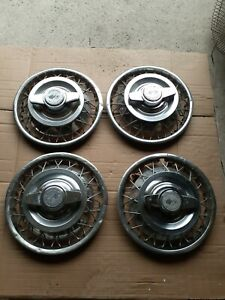 1962 1963 Chevy Corvair 13 Wire Spinner Wheel Covers Hubcaps Set Of 4