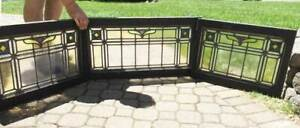 Antique Transom Window 3 Piece Leaded Stained Glass Triptych Rare