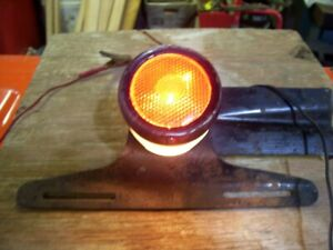 Vintage Red Glass Naco Stimsonite License Plate Lamp And Bracket Truck 40 S