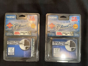 2genuine Brother P touch Tz 131 1 2 12mm Black Print On Clear Tape New Sealed