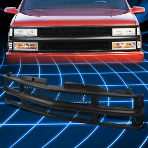For 88 00 Chevy C K Tahoe Blazer Matte Black Full Front Grille Guard Replacement