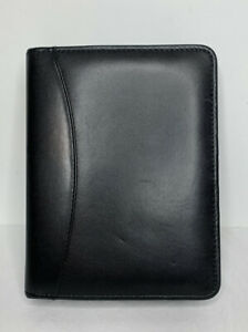 Franklin Covey Quest Classic Full Grain Aniline Leather Zip Planner Binder Black
