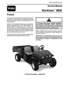Toro Workman Mde Electric Service Manual Coil Bound Printed
