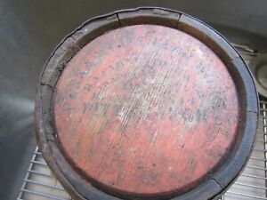 Antique Early Primitive Small Wood Paint Bucket Pittsburgh Pennsylvania