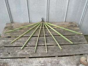 Primitive Wood Wall Mount Adjustable Folding 8 Arm Clothes Herb Drying Rack 4490