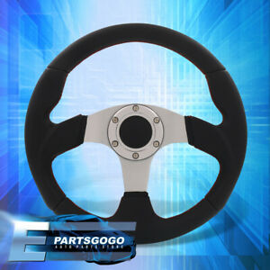 Universal 320mm 13 Black Pvc Leather Steering Wheel Red Stitching 6 Bolt Button