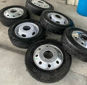 Set Of 6 Oem Takeoff Ford F450 F550 Dually Front Rear Polished Tires Wheels