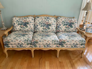 Ethan Allen French Country Living Room Sofa Couch And Chair Elegant Wood Frame