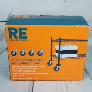 Room Essentials 4 Industrial Caster With Bumper Set New