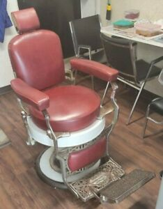 Antique Koken Barber Chair Fully Functional With Headrest Recent Upholstered