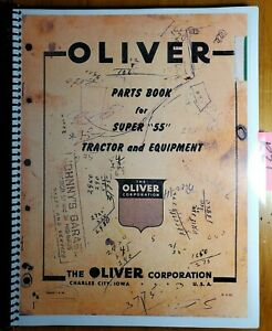 Oliver Super 55 55 Tractor And Equipment Parts Book Manual S1 9 e2 1955