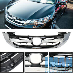 Jdm Style Chrome Front Grille Grill W Emblem For 9th Gen Honda Accord 4d 2013 15