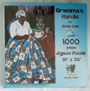 Sunsout Puzzle GRAMMA#x27;S HANDS by ANNIE LEE 1000 Pieces QUILT Coffee Oil Lamp NEW $39.99
