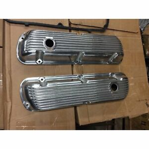 62 85 Sbf Ford 302 Retro Finned Polished Aluminum Valve Covers 289 351w 5 0 Sb