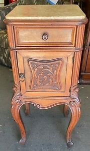 Antique Marble Topped Nightstand French Style
