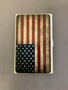 Business Card Holder Light Weight Anodized Aluminum American Flag