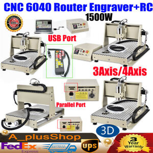 3 4 Axis Parallel usb Cnc 6040 Router Engraver 3d Carving Drill Machine 1 5kw rc
