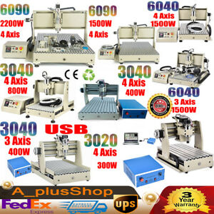 Usb Port 3axis 4axis 3020 3040 6040 6090 Cnc Router Engraver Machine 300w 2200w