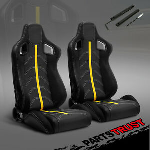 2 Black Pvc Suede And Yellow Line Left Right Racing Bucket Seats Slider Pair