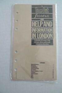 Filofax Insert Timeout Guide For London New Vintage made In Uk multi Page