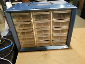 Vintage Storage Cabinet Akro mills A m Metal Plastic 15 Drawers Small Parts Blue