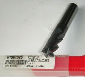 Accupro Solid Carbide End Mill 4 flute 1 2 Shank 1 Loc 3 Oal 01982826 Altin
