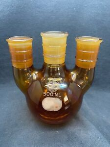 Ace Glass 500ml Amber Round Bottom Reaction Flask 3 Neck Vertical 29 42