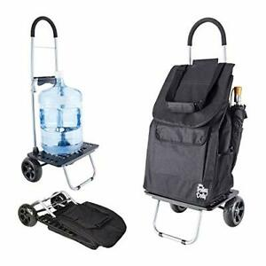 Dbest Products Bigger Trolley Dolly Black Shopping Grocery Foldable Cart