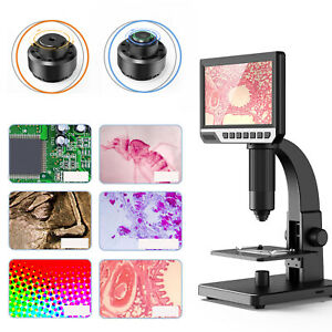 7inch Lcd Digital Microscope 0 2000x Magnification Fhd 11 Led Lights Pc View