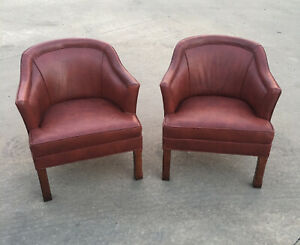 Vintage Hickory Leather Company Pair Of Red Brown Leather Office Chairs
