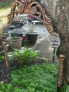 Nur Eternal Antique Ornate 1932 Wood Etched Gold Silver Wall Mirror 30 X18