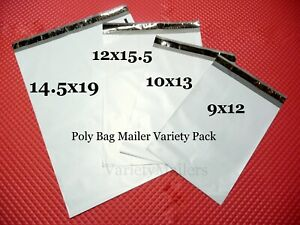 50 Poly Bag Mailer Variety Pack 4 Medium To Large Size Shipping Bags