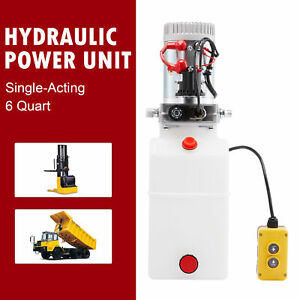 Single Acting 6 Quart 12v Hydraulic Pump For Truck Winches Rvs Tow Booms Sw
