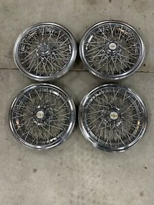 Set Of 1980 1996 Fits Impala Caprice Wire Spoke 15 Hubcaps Wheelcovers Oem