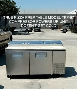 True Tpp 67 67 Two Section Solid Door Refrigerated Pizza Prep Table