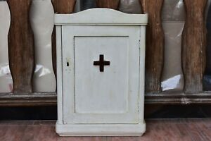 Primitive Antique Wooden Medical Cabinet Wall Chest Cabinet Farmhouse Rustic 30s
