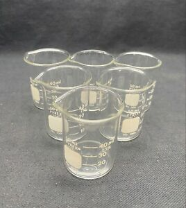 6 Corning Pyrex 50ml Glass Graduated Griffin Low Form Beaker 1000 50