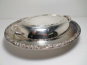 Antique Floral Pattern Design Serving Silver On Copper Dish Tray W Lid