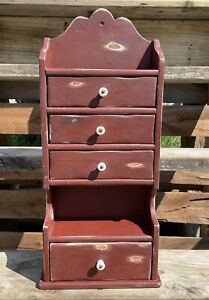Vtg Antique Primitive Rustic Apothecary Wooden Cupboard W Drawers Spice Jewelry