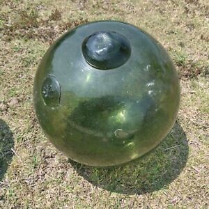 Vintage Glass Japanese Fishing Buoy Green Glass