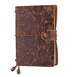 Vintage Classic Leather Notepad Embossed Cover Notebook Journal Diary Blank P6t7
