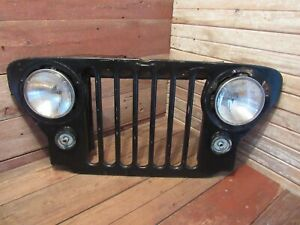 Vintage Jeep Front Grill Grille With Head Lights Junkyard Parts