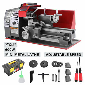 110v Mini Metal Lathe Benchtop Woodworking Drilling Milling Tool 7x12 2250rpm
