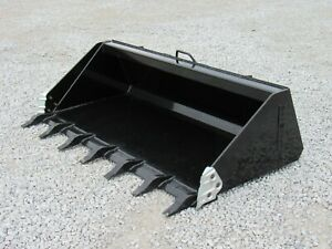 74 Heavy Duty Low Profile Tooth Bucket Attachment Fits Skid Steer Loader