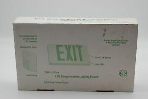 Led Emergency Exit Lighting Fixture Red Lettering Double Face Battery Backup