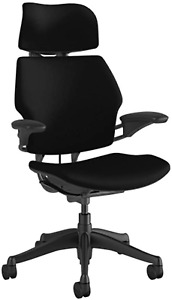 Humanscale Freedom Task Chair With Headrest Graphite Frame Corde 4 Black Fabr