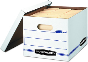 Bankers Box Stor file Storage Box Letter legal Lift off Lid White blue Case